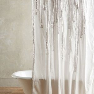 NEW Anthro Cream Draped Wisteria Shower Curtain